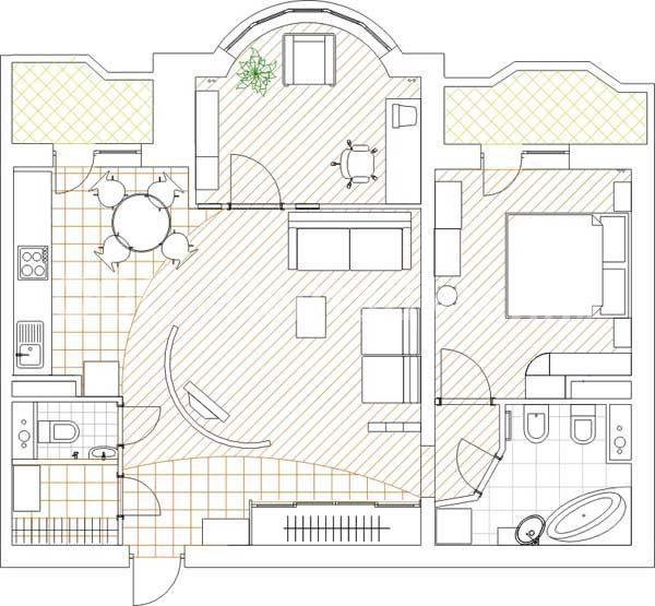� комнатная квартира в башне Вулыха - Ремонт квартиры под